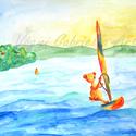 Falikép - Szörföző tini maci című művészi nyomat, Otthon, lakberendezés, Baba-mama-gyerek, Gyerekszoba, Falikép, Egy tinédzser macit festettem meg a képen, aki éppen szörfözik a Balaton vízén. A háttérben a tihany..., Meska