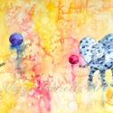 Falikép - Labdázó pöttyös elefántok című művészi nyomat, Otthon, lakberendezés, Képzőművészet, Falikép, Festmény, Erre a bohókás képre két kék pöttyös elefántot festettem, akik éppen labdáznak egymással. A sárga-ci..., Meska