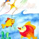 Falikép - Potyka nagy álma, szálldosni a világban című művészi nyomat, Képzőművészet, Festmény, Akvarell, Illusztráció, A kép illusztráció egy hasonló című meséhez. A mese egy halról szól, akinek az volt minden vágya, ho..., Meska