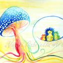 Falikép - Gombafonálon hintázó sünik című művészi nyomat, Képzőművészet, Festmény, Akvarell, Illusztráció, Ezen a képen egy kedves sünicsaládot festettem meg, mely egy kék, fehér pöttyös kalpagú gomba fonalá..., Meska