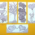Szeretet-szívek színezős könyvjelző szett, Naptár, képeslap, album, Mindenmás, Könyvjelző, Karácsonyi, adventi apróságok, Fotó, grafika, rajz, illusztráció, Kézzel rajzolt, majd digitalizált felnőtt színezős könyvjelző szett (5 db-os). 7x18 cm méretűek, va..., Meska