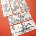 Bohókás lányok színezős könyvjelző szett - felnőtt színező, Naptár, képeslap, album, Képzőművészet, Könyvjelző, Grafika, Kézzel rajzolt, majd digitalizált felnőtt színezős könyvjelző szett (5 db-os). 7x18 cm méretűek, vas..., Meska