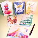 Karácsonyi képeslap / ajándékkísérő csomag - 6 db-os, Karácsonyi, adventi apróságok, Naptár, képeslap, album, Ajándékkísérő, képeslap, Képeslap, levélpapír, A képeslapjaimon általam készített illusztrációk, képek másolata található. Az eredeti képek akvarel..., Meska