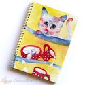 Rendetlen cica spirálfüzet - vonalas füzet, Naptár, képeslap, album, Jegyzetfüzet, napló, A füzet borítója egy festményem másolata. Az eredeti akvarellfestmény saját szellemi termékem. A füz..., Meska