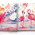 Füzet - Flamingótánc spirálfüzet - vonalas füzet, Naptár, képeslap, album, Anyák napja, Jegyzetfüzet, napló, A füzet borítója egy festményem másolata. Az eredeti akvarellfestmény saját szellemi termékem. A füz..., Meska