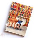 Füzet - Bárányok a könyvtárban spirálfüzet - vonalas füzet, Naptár, képeslap, album, Mindenmás, Anyák napja, Ballagás, A füzet borítója egy festményem másolata. Az eredeti akvarellfestmény saját szellemi termékem. A füz..., Meska