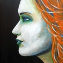 Face - festmény, Képzőművészet, Festmény, Akril,  Akril festmény feszített vásznon, mérete: 40 x 30 cm.  Oldala is festve van, keret nélkül helyezhet..., Meska