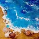 Tengerparti részlet - kagylós kép, Képzőművészet, Festmény, Akril, Festmény vegyes technika, Festészet, Kasírozott vászonra készített festmény, valódi kagylókkal és üveggyönggyel.  Vegyes technika,  Mére..., Meska