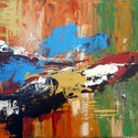 Absztrakt festmény, Képzőművészet, Otthon, lakberendezés, Festmény, Akril,  Akril festmény feszített vásznon, mérete: 40 x 60 cm. 2017. Szignózva és eredetigazolással.  Ajánlo..., Meska