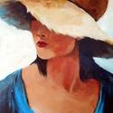 Hölgy kalapban - festmény, Képzőművészet, Otthon, lakberendezés, Festmény, Akril, Akril festmény kasírozott vásznon, mérete: 50 x 40 cm. Struktúr paszta és a vastagon felvitt a..., Meska