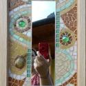 Mozaik tükör, Otthon, lakberendezés, Képkeret, tükör, Fa lapra készített mozaik, üvegcsempe, tükör, üveggyöngy  és jade teknős figura felhasznál..., Meska