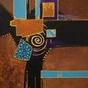 Ünnepi csillogás - festmény, Képzőművészet, Otthon, lakberendezés, Festmény, Akril, Akril, absztrakt festmény feszített vásznon, mérete: 40 x 30 cm. 2018. 11.  Oldala is festett.      ..., Meska
