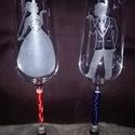 Esküvői pohár, Dekoráció, Esküvő, Ünnepi dekoráció, Esküvői dekoráció, Kézzel gravírozott pezsgős pohár  esküvőre ,nászajándéknak.. A kiírt ár, a két pohárra ..., Meska