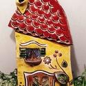 Kerámia házikó, Otthon & lakás, Dekoráció, Dísz, Lakberendezés, Falikép, Kerámia, Samottos agyagból, lapnyújtással készült, kézzel rajzolva és díszítve, mindegyik egyedi kinézetű. V..., Meska