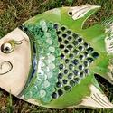 Kerámia hal, Otthon & lakás, Dekoráció, Lakberendezés, Dísz, Falikép, Ajtódísz, kopogtató, Kerámia, Horgászok, figyelem! Ki sem kell ülni a partra, hogy kifogjátok ezt a szép kis kerámia halat. Mindi..., Meska