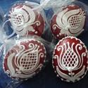 Térbeli tojások , Dekoráció, Dísz, Húsvéti apróságok, Ünnepi dekoráció, Mézeskalácssütés, 4 darab piros-fehér színű húsvéti térbeli tojások, melyeknek belsejét a megrendelő kívánságára   Sm..., Meska