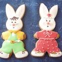 Nyuszipár, Dekoráció, Baba-mama-gyerek, Mézeskalácssütés, 17x9 cm-es színes, vidám húsvéti nyuszifiú és nyuszilány. Darabonként is rendelhető, 850,-Ft/db.  E..., Meska