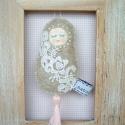 Vintage bábuska - régi csipkés, szürke, halványrózsa bojttal, Régi csipke felhasználásával, a romantika és ...