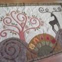 Falikép  szarvasokkal, tulipánokkal 150 x 100 cm, Otthon, lakberendezés, Lakástextil, Falvédő, A falikép az életfás ágytakaró nyomán készült, új tervrajzokkal, almák helyett virágokkal :)  Formáj..., Meska