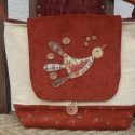 Madaras táska, Táska, Válltáska, oldaltáska, Az aktuálisan beszerezhető kordbársonyoktól függ majd a táska színe! Fedelét madárkás applikációval ..., Meska