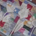 Virágos falvédő sok-sok kicsi részből 195 x 75 cm, Dekoráció, Otthon, lakberendezés, Lakástextil, Falvédő, Aprólékos munkával készült egyedi falvédő: a 237 kis textilnégyzetből /háromszögből készült színes a..., Meska
