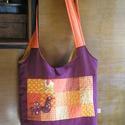 Madaras táska élénk színekben, Táska, Baba-mama-gyerek, Válltáska, oldaltáska, A lila és a narancs igenis összeillik :) Kényelmes női táska rendelhető vidám egyéniségeknek. Elején..., Meska