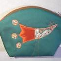 Madaras neszesszer - narancs, fűzöld, Nicsak, ide is röppent egy madárka :)  Közepes ...