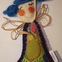 Tündér - kék, zöld, Dekoráció, Dísz, Ez a kedves tavasztündér beröppenhet Hozzátok? A kis figura estéhez gyapjúfilcet használtam, melyet ..., Meska