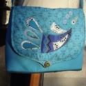 Madaras, türkiz női táska 1., Különböző türkizekből készült ez a táska....
