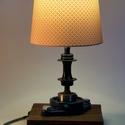 Asztali lámpa, Otthon, lakberendezés, Lámpa, Asztali lámpa, Famegmunkálás, Fémmegmunkálás, Asztali lámpa használt csapágyból és kerékpáralkatrészekből.  Felhasznált anyagok: -2 csavaros önbe..., Meska