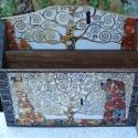 Levél,-jegyzettartó  , Otthon, lakberendezés, Tárolóeszköz, Doboz, Jegyzettartó Klimt Életfa című  képének nyomatával díszítve. A dobozt pácoltam, festettem,..., Meska