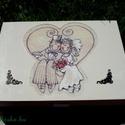Szíves doboz esküvőre , Otthon, lakberendezés, Tárolóeszköz, Doboz, Decoupage, transzfer és szalvétatechnika, 12 rekeszes doboz. A rekeszekbe különböző humoros kis ajándékokat lehet tenni, melyek \\\\\\\\\\\\..., Meska