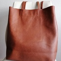 Barna textilbőr táska, Táska, Válltáska, oldaltáska, Varrás, Kellemes barna színű  bőrből készítettem ezt a nagy pakolós táskát amit a pántja hosszúsága miatt l..., Meska
