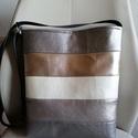 Csíkos táska, Táska, Válltáska, oldaltáska, Varrás, Ezt a táskát a metálos csillogás jegyében készítettem. Anyaga jó minőségű textilbőrből van. Az aran..., Meska