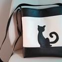 Cicás táska, Táska, Válltáska, oldaltáska, Varrás, Cica imádó barátnőmnek készítettem ezt a táskát,de ha megtetszett és szeretnél akkor szívesen elkés..., Meska