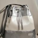 Ezüst fehér táska , 2 felé képpen hordható ezüst és gyöngy háza...