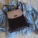 Fekete hátitáska, Bronz csillogó hatású és sima Textilbőrböl k...