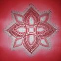 Tüzes izzás selyemmandala, Dekoráció, Otthon, lakberendezés, Kép, Falikép, Selyemfestés, Egyedi készítésű, 20 X 20 cm-es selyemre festett, falra is akasztható mandalám.   A piros szín a gy..., Meska