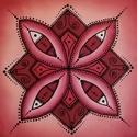 Vörös és fekete, selyemmandala, Dekoráció, Otthon, lakberendezés, Kép, Falikép, Selyemfestés, Egyedi készítésű, 20 X 20 cm-es selyemre festett mandalám.  A a piros szín aktív használatával bein..., Meska