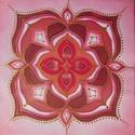 gyökércsakra mandala, Dekoráció, Otthon, lakberendezés, Kép, Falikép, Selyemfestés, Egyedi készítésű, 20 X 20 cm-es selyemre festett, falra is akasztható mandalám, amely a gyökércsakr..., Meska