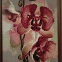 Gyémánt festmény-orchidea, Dekoráció, Kép, Gobelin, Dísz, Üvegművészet, A gobelin modern változata. kb 30*40cm, keretezett, csiszolt, 2*2mm-es üveg kövekből kirakott kép. ..., Meska