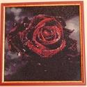 Gyémánt festmény-bordó rózsa, Dekoráció, Kép, Gobelin, Dísz, Üvegművészet, A gobelin modern változata. kb 40*40cm, keretezett, csiszolt, 2*2mm-es üveg kövekből kirakott kép. ..., Meska