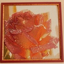 Gyémánt festmény-barack rózsa, Dekoráció, Kép, Gobelin, Dísz, Üvegművészet, A gobelin modern változata. kb 40*40cm, keretezett, csiszolt, 2*2mm-es üveg kövekből kirakott kép. ..., Meska