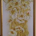 Gyémánt festmény liliom, Dekoráció, Kép, Gobelin, Dísz, Üvegművészet, A gobelin modern változata. kb 100*50cm, keretezett, csiszolt, 2*2mm-es üveg kövekből kirakott kép...., Meska