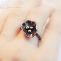 pipacs - vörösréz gyűrű, Ékszer, óra, Gyűrű, Fémmegmunkálás, Ékszerkészítés, pipacs gyűrű vörösrézből, olvasztgatott sárgaréz bogyókkal.  a jelenleg készleten levő gyűrű  belső..., Meska