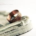 vörösréz mehndi karikagyűrű , Ékszer, Esküvő, Gyűrű, saját készítésű mehndi mintásra maratott vörösréz lemezből készült karikagyűrű    17mm belső átmérőj..., Meska