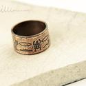 egyiptom - maratott vörösréz gyűrű, Ékszer, Gyűrű, nyitott, 11mm széles maratásos technikával, egyiptomi hieroglifákkal díszített vörösréz gyűrű. belső..., Meska