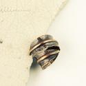 levél - vörösréz gyűrű, Ékszer, Gyűrű, vörösréz lemezből hajtogatott, kalapált, kovácsolt , - foldforming technikával készült nyitott, leve..., Meska