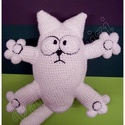 Simon's cat  horgolt cica Nagyban!, Baba-mama-gyerek, Játék, Játékfigura, Plüssállat, rongyjáték, Nagyon sok szeretettel,munka közben rengeteg nevetéssel készült :)) Ez a cica nem mogorva...épp neki..., Meska