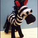 """Horgolt Zebra """"Villám"""", Baba-mama-gyerek, Játék, Plüssállat, rongyjáték, Játékfigura, Villám egy kedves megrendelőmnek készült,akivel már vidáman játszadozik egy városi kis lakásban:))  ..., Meska"""